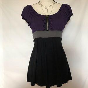 Soprano purple/black zipper peasant blouse